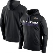 Wholesale Cheap Men's Baltimore Ravens Nike Black Sideline Circuit Pullover Performance Hoodie