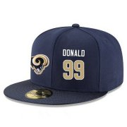 Wholesale Cheap Los Angeles Rams #99 Aaron Donald Snapback Cap NFL Player Navy Blue with Gold Number Stitched Hat