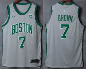 Wholesale Cheap Men\'s Boston Celtics #7 Jaylen Brown Grey 2017-2018 Nike Authentic General Electric Stitched NBA Jersey