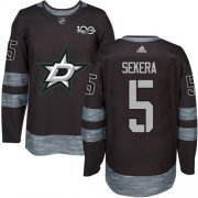 Wholesale Cheap Adidas Stars #5 Andrej Sekera Black 1917-2017 100th Anniversary Stitched NHL Jersey