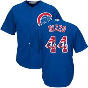 Wholesale Cheap Cubs #44 Anthony Rizzo Blue Team Logo Fashion Stitched MLB Jersey