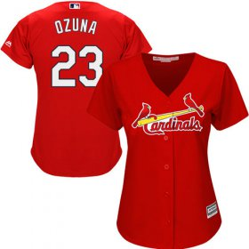 Wholesale Cheap Cardinals #23 Marcell Ozuna Red Alternate Women\'s Stitched MLB Jersey