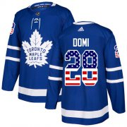 Wholesale Cheap Adidas Maple Leafs #28 Tie Domi Blue Home Authentic USA Flag Stitched NHL Jersey