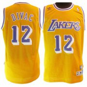 Wholesale Cheap Los Angeles Lakers #12 Vlade Divac Yellow Swingman Throwback Jersey