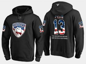 Wholesale Cheap Panthers #13 Mark Pysyk NHL Banner Wave Usa Flag Black Hoodie