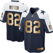 Wholesale Cheap Nike Cowboys #82 Jason Witten Navy Blue Thanksgiving Throwback Youth Stitched NFL Elite Gold Jersey