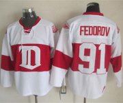 Wholesale Cheap Red Wings #91 Sergei Fedorov White Winter Classic CCM Throwback Stitched NHL Jersey