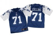 Wholesale Nike Cowboys #71 La'el Collins Navy Blue/White Throwback Men's Stitched NFL Elite Jersey