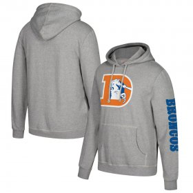 Wholesale Cheap Denver Broncos Mitchell & Ness Classic Team Pullover Hoodie Heathered Gray
