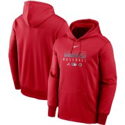 Wholesale Cheap Men's Atlanta Braves Nike Red Authentic Collection Therma Performance Pullover Hoodie