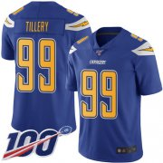 Wholesale Cheap Nike Chargers #99 Jerry Tillery Electric Blue Men's Stitched NFL Limited Rush 100th Season Jersey