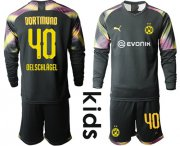 Wholesale Cheap Dortmund #40 Oelschlagel Black Goalkeeper Long Sleeves Kid Soccer Club Jersey