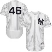 Wholesale Cheap Yankees #46 Andy Pettitte White Strip Flexbase Authentic Collection Stitched MLB Jersey