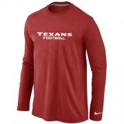 Wholesale Cheap Nike Houston Texans Authentic Font Long Sleeve T-Shirt Red
