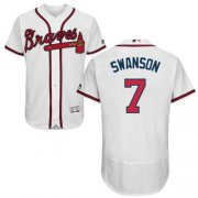 Wholesale Cheap Braves #7 Dansby Swanson White Flexbase Authentic Collection Stitched MLB Jersey