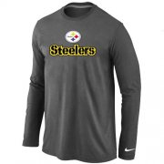 Wholesale Cheap Nike Pittsburgh Steelers Authentic Logo Long Sleeve T-Shirt Dark Grey