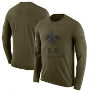 Wholesale Cheap Men's New Orleans Saints Nike Olive Salute to Service Sideline Legend Performance Long Sleeve T-Shirt