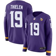 Wholesale Cheap Nike Vikings #19 Adam Thielen Purple Team Color Women's Stitched NFL Limited Therma Long Sleeve Jersey