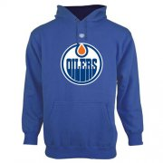 Wholesale Cheap Edmonton Oilers Old Time Hockey Big Logo with Crest Pullover Hoodie Royal Blue