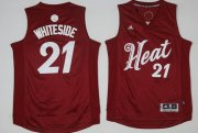 Wholesale Cheap Men's Miami Heat #21 Hassan Whiteside adidas Red 2016 Christmas Day Stitched NBA Swingman Jersey