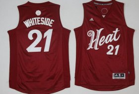 Wholesale Cheap Men\'s Miami Heat #21 Hassan Whiteside adidas Red 2016 Christmas Day Stitched NBA Swingman Jersey