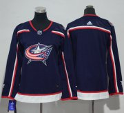 Wholesale Cheap Adidas Blue Jackets Blank Navy Blue Home Authentic Women's Stitched NHL Jersey