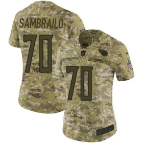 Wholesale Cheap Nike Titans #70 Ty Sambrailo Camo Women\'s Stitched NFL Limited 2018 Salute To Service Jersey