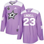 Cheap Adidas Stars #23 Esa Lindell Purple Authentic Fights Cancer Youth 2020 Stanley Cup Final Stitched NHL Jersey