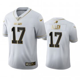 Wholesale Cheap Buffalo Bills #17 Josh Allen Men\'s Nike White Golden Edition Vapor Limited NFL 100 Jersey