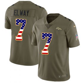 Wholesale Cheap Nike Broncos #7 John Elway Olive/USA Flag Youth Stitched NFL Limited 2017 Salute to Service Jersey