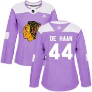 Wholesale Cheap Adidas Blackhawks #44 Calvin De Haan Purple Authentic Fights Cancer Women's Stitched NHL Jersey