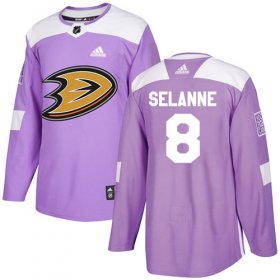 Wholesale Cheap Adidas Ducks #8 Teemu Selanne Purple Authentic Fights Cancer Youth Stitched NHL Jersey