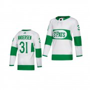 Wholesale Cheap Adidas Maple Leafs #31 Frederik Andersen White 2019 St. Patrick's Day Authentic Player Stitched Youth NHL Jersey