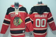 Wholesale Blackhawks #00 Clark Griswold Red Sawyer Hooded Sweatshirt Stitched NHL Jersey