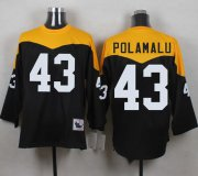 Wholesale Cheap Mitchell And Ness 1967 Steelers #43 Troy Polamalu Black/Yelllow Throwback Men's Stitched NFL Jersey