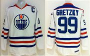 Wholesale Cheap Oilers Wayne Gretzky #99 Stitched White CCM Throwback NHL Jersey