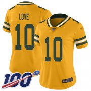 Wholesale Cheap Nike Packers #10 Jordan Love Gold Women's Stitched NFL Limited Inverted Legend 100th Season Jersey