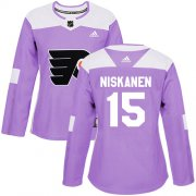 Wholesale Cheap Adidas Flyers #15 Matt Niskanen Purple Authentic Fights Cancer Women's Stitched NHL Jersey