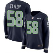 Wholesale Cheap Nike Seahawks #58 Darrell Taylor Steel Blue Team Color Women's Stitched NFL Limited Therma Long Sleeve Jersey