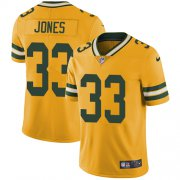 Wholesale Cheap Nike Packers #33 Aaron Jones Yellow Men's Stitched NFL Limited Rush Jersey