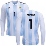 Wholesale Cheap Argentina #1 Romero Home Long Sleeves Kid Soccer Country Jersey
