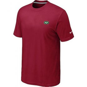 Wholesale Cheap Nike New York Jets Chest Embroidered Logo T-Shirt Red