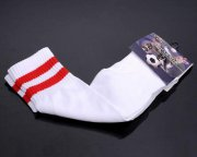 Wholesale Cheap Soccer Football Sock White & Red Stripe