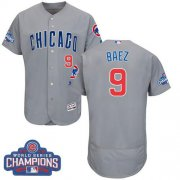 Wholesale Cheap Cubs #9 Javier Baez Grey Flexbase Authentic Collection Road 2016 World Series Champions Stitched MLB Jersey