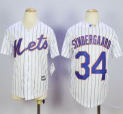 Wholesale Cheap Mets #34 Noah Syndergaard White(Blue Strip) Home Cool Base Stitched Youth MLB Jersey