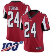 Wholesale Cheap Nike Falcons #24 A.J. Terrell Red Team Color Men's Stitched NFL 100th Season Vapor Untouchable Limited Jersey