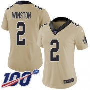 Wholesale Cheap Nike Saints #2 Jameis Winston Gold Women's Stitched NFL Limited Inverted Legend 100th Season Jersey