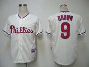 Wholesale Phillies #9 Domoic Brown Cream Cool Base Stitched Baseball Jersey