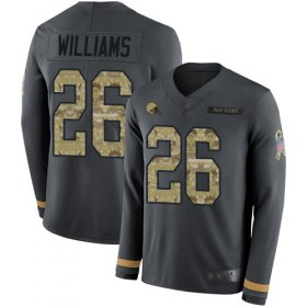 Wholesale Cheap Nike Browns #26 Greedy Williams Anthracite Salute to Service Men\'s Stitched NFL Limited Therma Long Sleeve Jersey