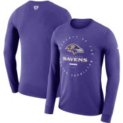 Wholesale Cheap Baltimore Ravens Nike Property Of Sideline Performance Long Sleeve T-Shirt Purple